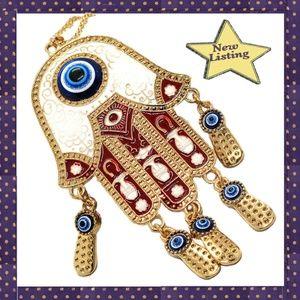 Large Red Enamel Hamsa Turkish Blue Eyes Necklace